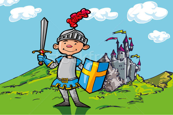 Cartoon boy knight in front of a castle Stock photo © antonbrand