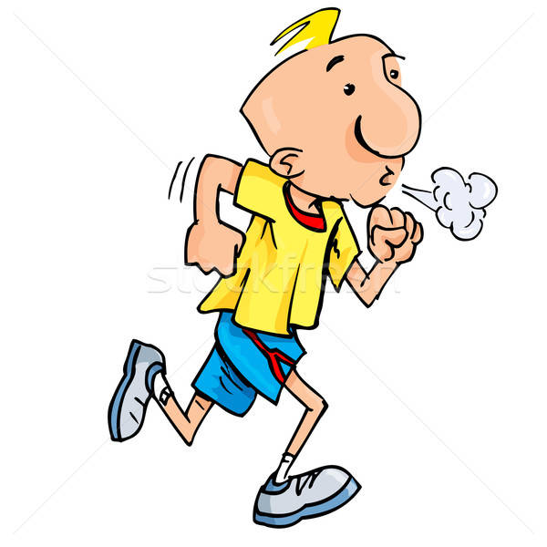 Cartoon of a jogging man puffing exertion Stock photo © antonbrand