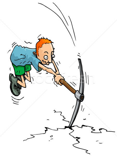 Cartoon man with a pick axe Stock photo © antonbrand