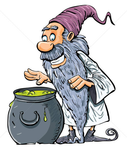 Cartoon Wizard with boiling cauldron. Stock photo © antonbrand