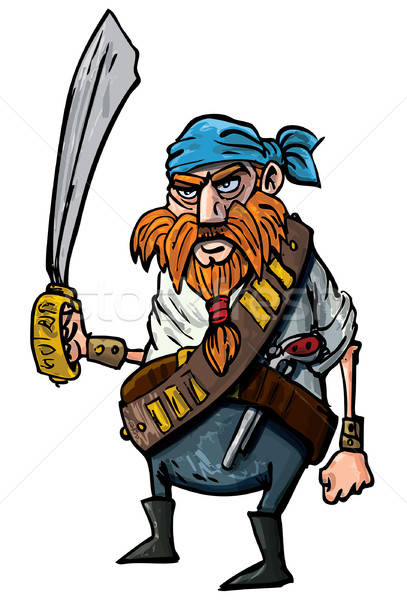 Cartoon pirate with a sword Stock photo © antonbrand