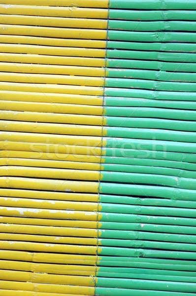 ストックフォト: 2 · 色 · 竹 · カーテン · 木材 · 壁