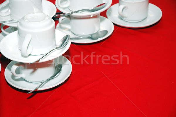 白 カップ 赤 表 テクスチャ スペース ストックフォト © antonihalim