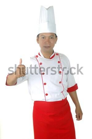 アジア シェフ 肖像 孤立した 白 食品 ストックフォト © antonihalim