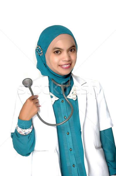Portré ázsiai fiatal nő orvos fehér mosoly Stock fotó © antonihalim