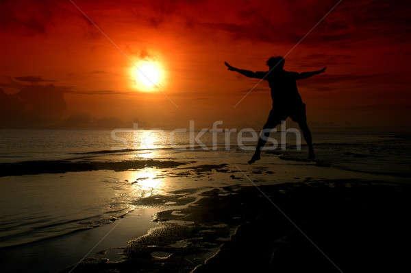 シルエット 男 方向 太陽 水 幸せ ストックフォト © antonihalim