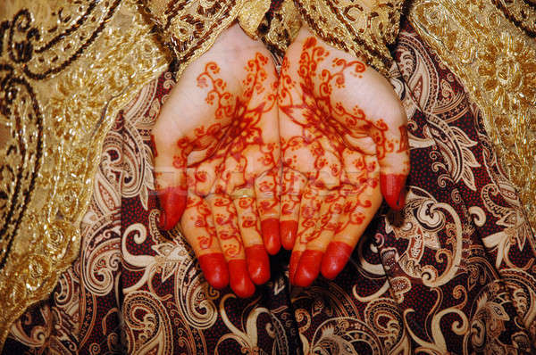 Henna On Hands Of Indonesian Wedding Bride Stock photo © antonihalim