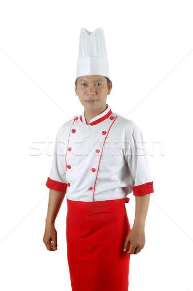 ストックフォト: アジア · シェフ · 肖像 · 孤立した · 白 · 食品
