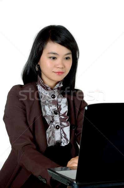 アジア 小さな オフィス 孤立した 白 女性 ストックフォト © antonihalim
