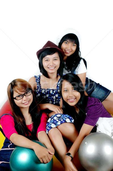 4 代 女の子 応援 一緒に 代 ストックフォト © antonihalim