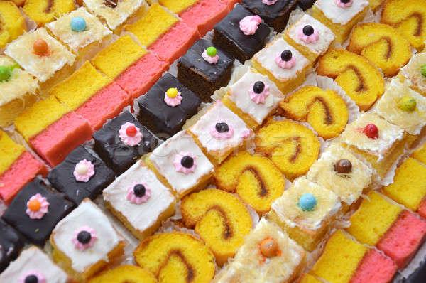 Különböző torták minta édes színes étel Stock fotó © antonihalim