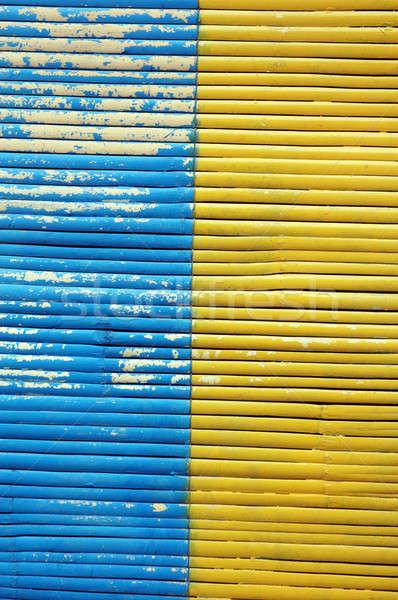 Kettő szín bambusz függöny fa fal Stock fotó © antonihalim