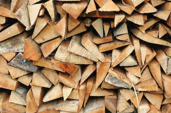 Tűzifa boglya textúra fa ipar energia Stock fotó © antonihalim