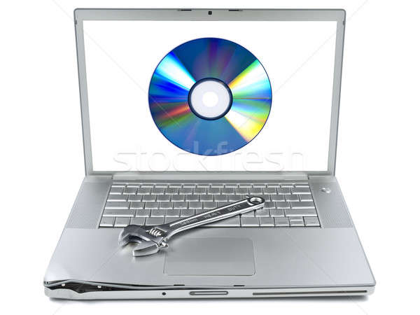 Narzędzia uszkodzony laptop klucz cyfrowe Zdjęcia stock © antonprado