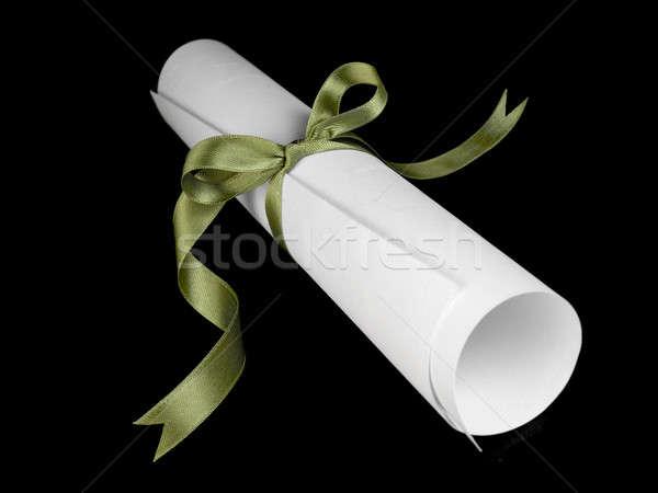 Diploma verde fita seda isolado preto Foto stock © antonprado