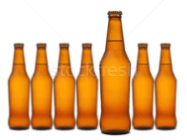 Sept bouteilles sur groupe lumière Photo stock © antonprado