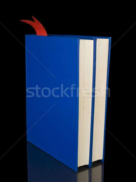 Dwa niebieski książek odizolowany czarny papieru Zdjęcia stock © antonprado