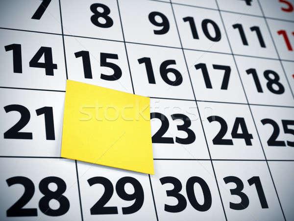 Blank sticky note on a calendar Stock photo © antonprado