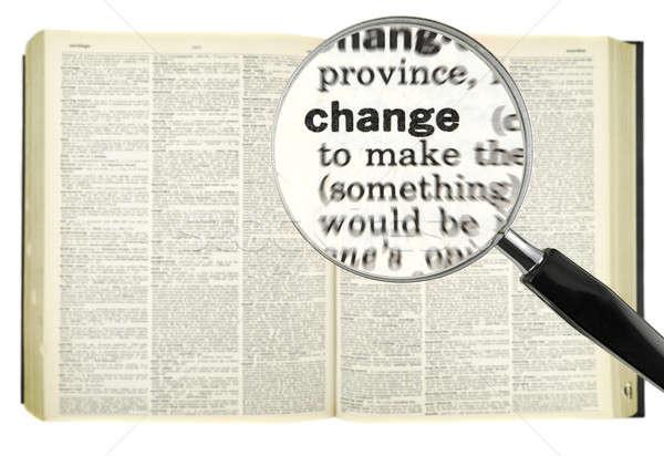 Dictionnaire recherche loupe mot changement livre Photo stock © antonprado