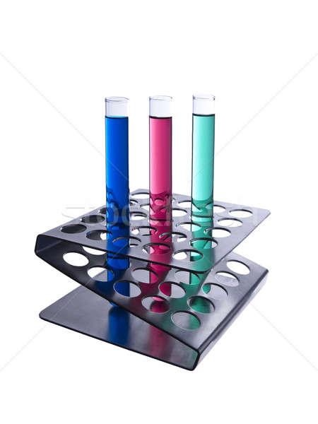 Foto d'archivio: Test · tubi · rack · tre · colorato · metallico