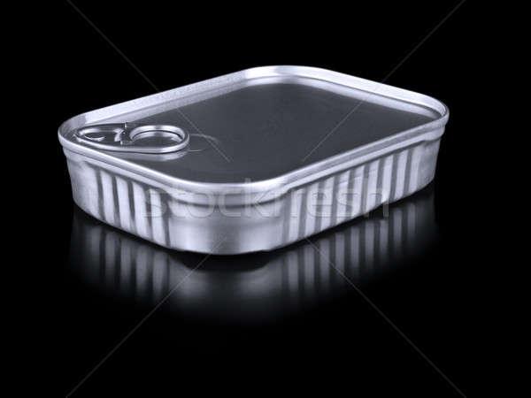 Lata estanho recipiente isolado preto comida Foto stock © antonprado