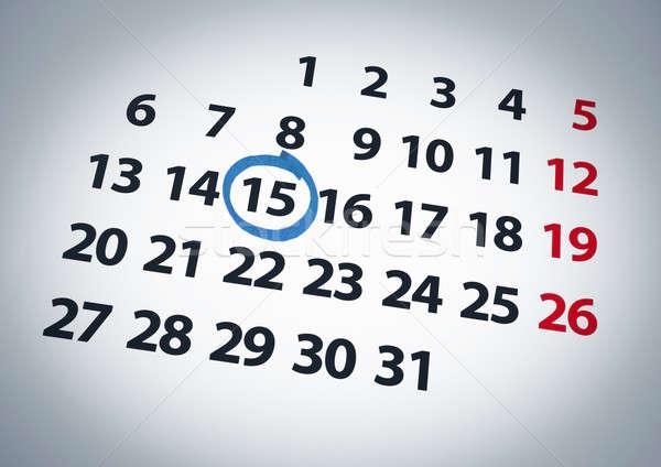 Fecha día calendario azul tinta papel Foto stock © antonprado