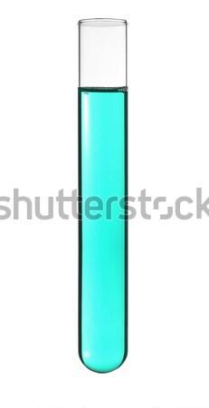 Tube à essai isolé cyan liquide médicaux laboratoire Photo stock © antonprado