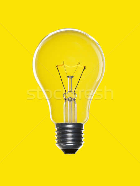 Stock photo: Bulb light over yellow