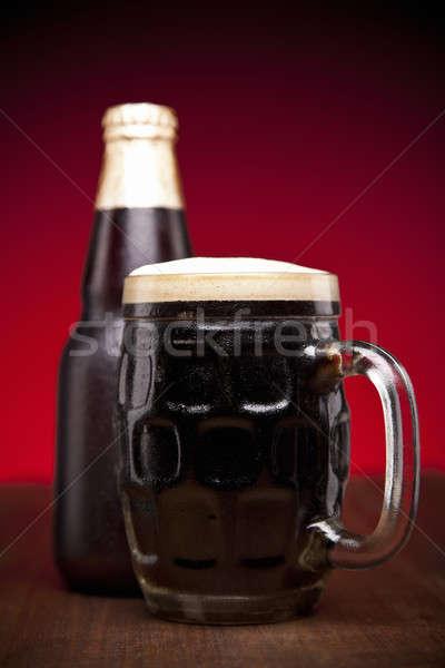 Vetro bottiglia birra tavolo in legno spazio bar Foto d'archivio © antonprado