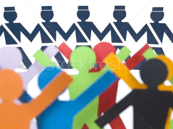 Papieru konfrontacja kilka kolor stałego policji Zdjęcia stock © antonprado