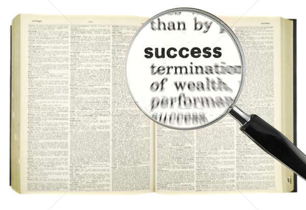 Dictionnaire recherche loupe mot succès éducation Photo stock © antonprado