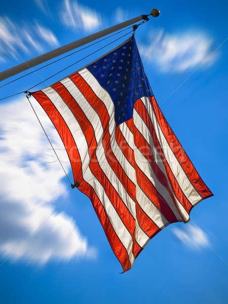 USA banderą amerykańską flagę Błękitne niebo gwiazdki Zdjęcia stock © antonprado