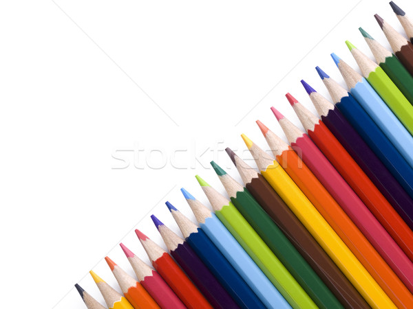 Crayon diagonal crayons forme blanche Photo stock © antonprado