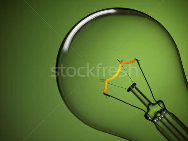 Bulb light over green Stock photo © antonprado