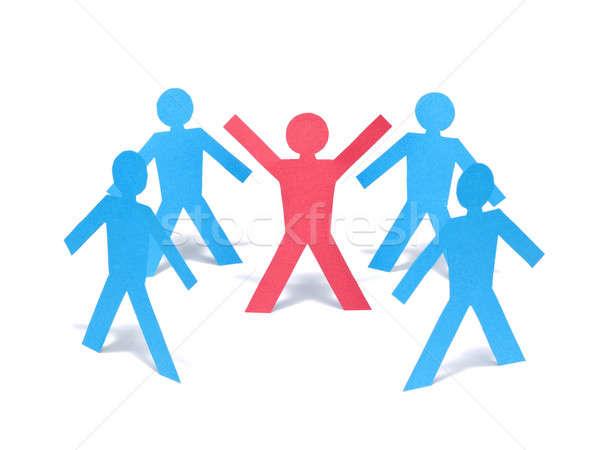 Grupo rojo papel hombre armas azul Foto stock © antonprado
