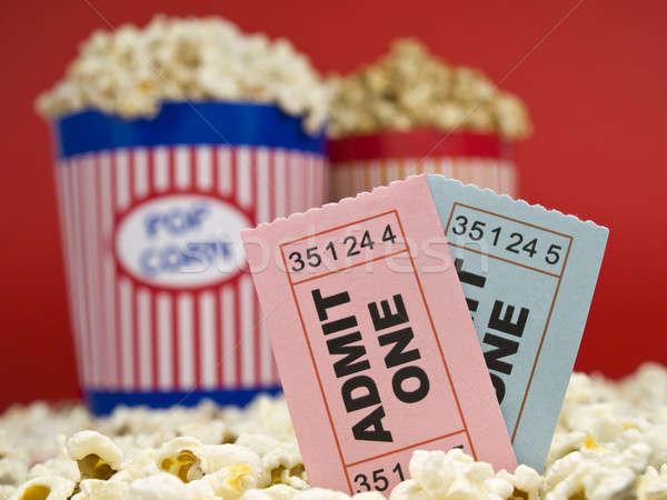 Movie stubs and popcorn Stock photo © antonprado