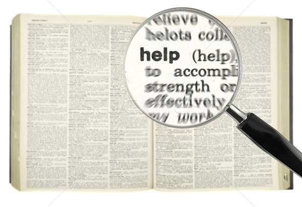 Ajudar lupa palavra dicionário vidro Foto stock © antonprado