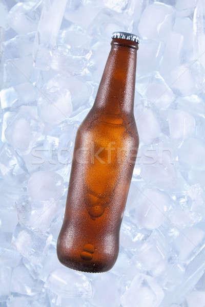Jeden zimno piwa brązowy butelki lodu Zdjęcia stock © antonprado