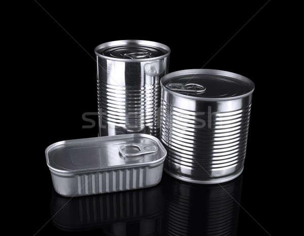 Estaño tres diferente aislado negro alimentos Foto stock © antonprado