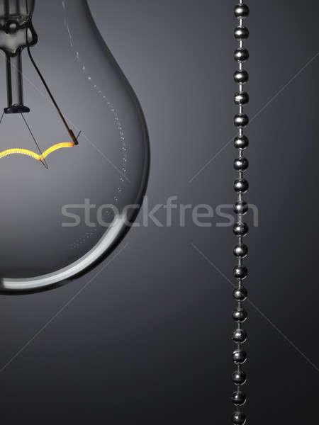 ストックフォト: ターン · オフ · 光 · 電球 · プル