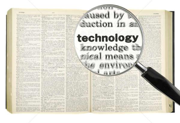 Tecnologia lupa palavra dicionário isolado Foto stock © antonprado