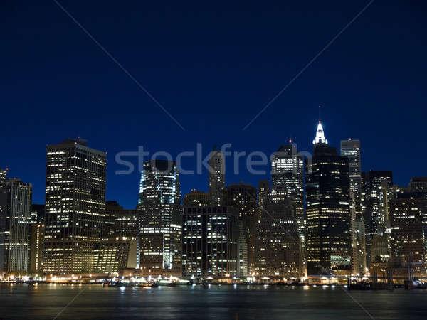 Nowy Jork widoku panoramę zmierzch działalności krajobraz Zdjęcia stock © antonprado
