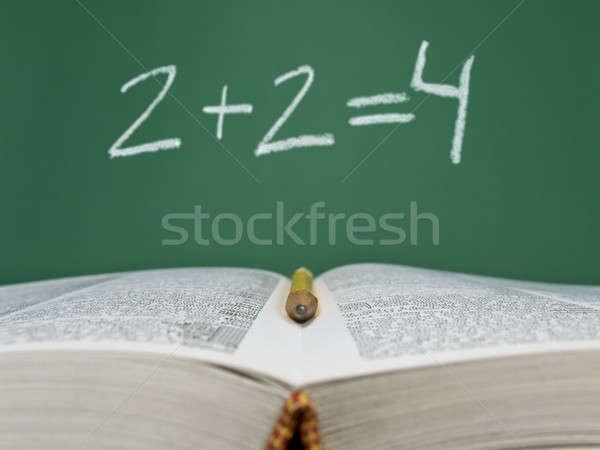 Fundamenteel som geschreven schoolbord Open boek potlood Stockfoto © antonprado