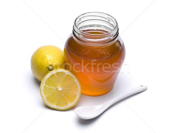 Stockfoto: Honing · jar · citroenen · lepel · geïsoleerd · witte