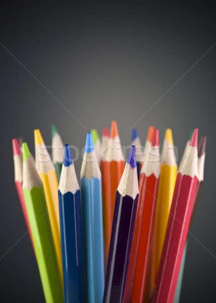 Kolor ołówki szary kopia przestrzeń projektu Zdjęcia stock © antonprado