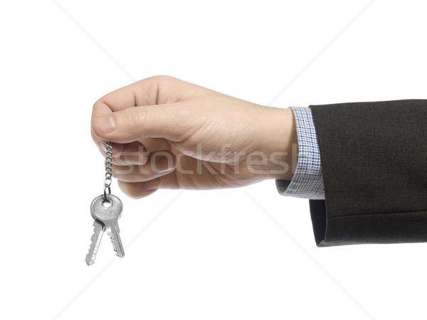 Marka nowy dom człowiek biznesu zestaw klucze Zdjęcia stock © antonprado