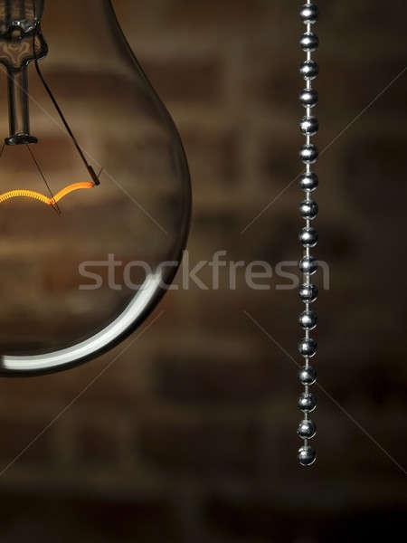 Fordul el fény közelkép átlátszó villanykörte Stock fotó © antonprado