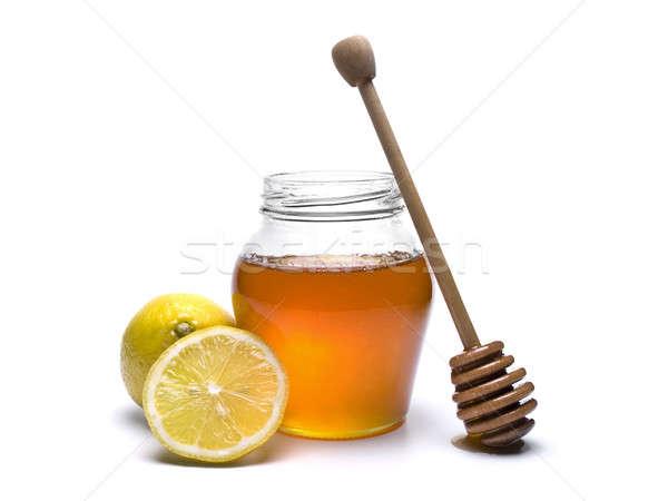 Stockfoto: Honing · jar · houten · citroenen · geïsoleerd · witte