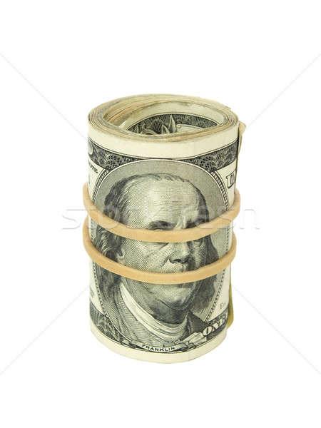 Stock fotó: Zsemle · számlák · egy · száz · dollár · bankjegyek · gumiszalag