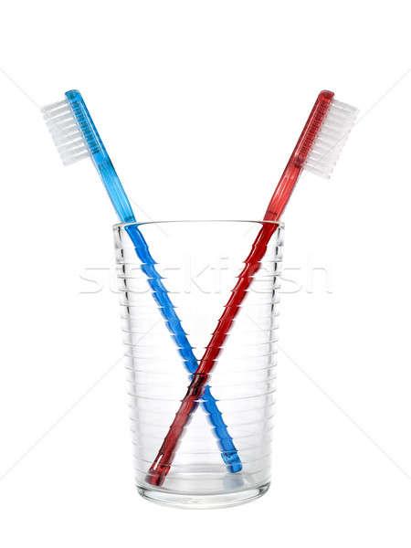 Foto stock: Dois · vidro · branco · saúde · banheiro · dentes